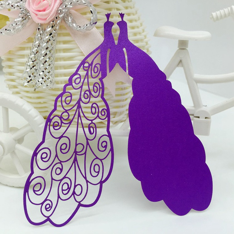 Romantic 50Pcs Peacock Wine Glass Card Wedding Laser Cutting Peafowl Hollow Paper Place/Cup/Name Card Party Bar Shower Decor(China (Mainland))