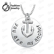"""Stamped Necklace """" """"You are My Anthor"""" Charm Pendant Necklace for Women Girl Boy Gift  #LN1013(China (Mainland))"""