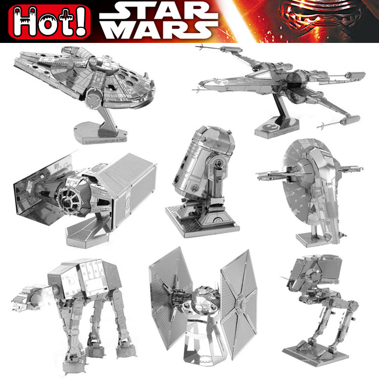Star Wars C3PO BB-8 Fighter Millennium Falcon X-WING DIY 3D Metal Puzzle Assemble Model Building Kits Robot plane Toys Kid Gifts(China (Mainland))