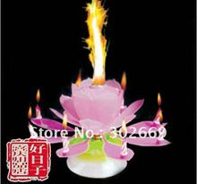Lotus Birthday Candles Rotating Sparkling Music Candles Flower Candles Eight Crafts Candles 40pcs/lot Free Shipping(China (Mainland))