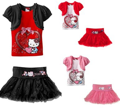 Children clothing sets Cartoon Hello Kitty Girls Dress Suits, Kids Short Sleeve Shirt Tutu Dress Lace clothes Princess CQ-008(China (Mainland))