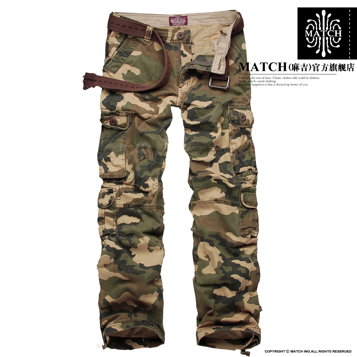 Match autumn 100% cotton Camouflage pants outdoor bag overalls male casual long trousers 3316m(China (Mainland))