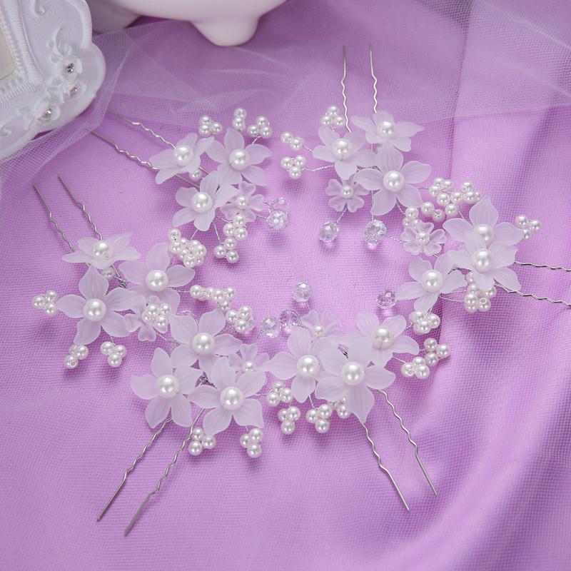 6pcs/Lot Wedding Accessories Bridal Pearl Hairpins Flower Crystal Rhinestone Hair Pins Clips Women Head Jewelry Tiara Noiva(China (Mainland))