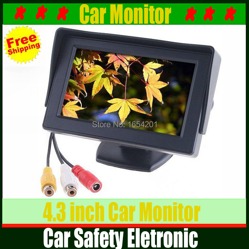Most useful 4.3 inch TFT LCD Car Monitor Rearview with LED backlight display for Camera DVD VCR Backup Color Suport PAL/NTSC(China (Mainland))
