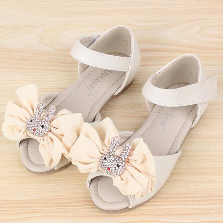 2015 Child Rhinestone Rabbit And Bowtie Ornament Little Girl Shoes Wedding Velcro Soft Leather Sandals(China (Mainland))