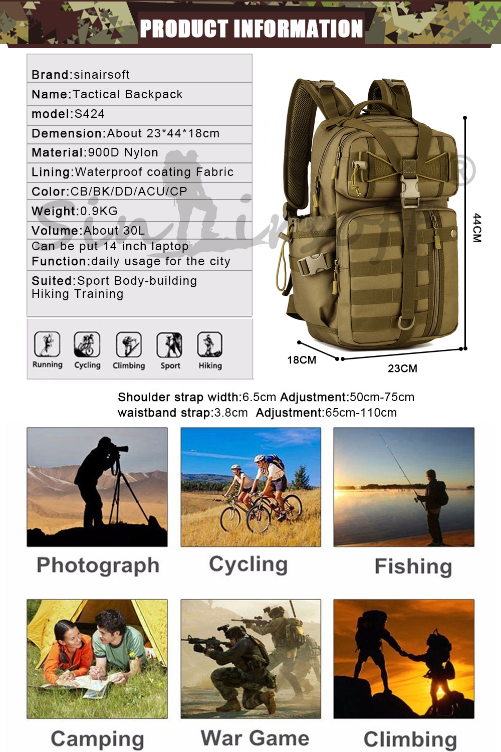 HTB1vkCpQFXXXXb8XVXXq6xXFXXXv - SINAIRSOFT Outdoor Tactical Backpack 900D Waterproof Army Shoulder Military hunting camping Multi-purpose Molle Sport Bag LY0057