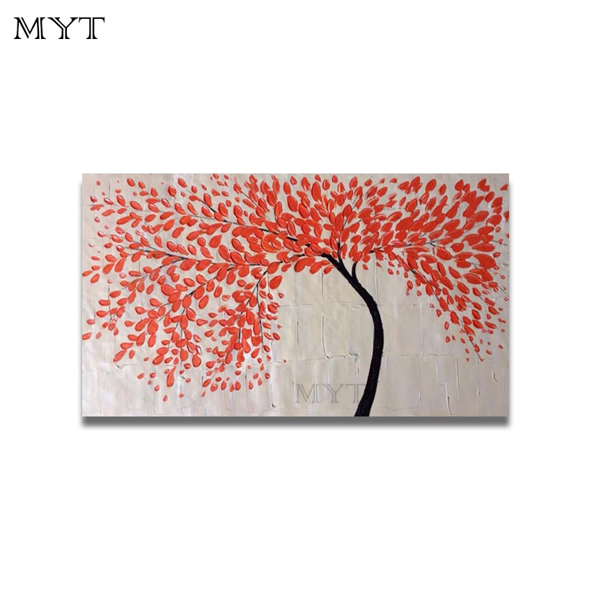 Real Images 100% Hand-painted Oil Painting Modren Golden Flower Tree Home Decorates Pictures for Living Room Wall No Framed(China (Mainland))