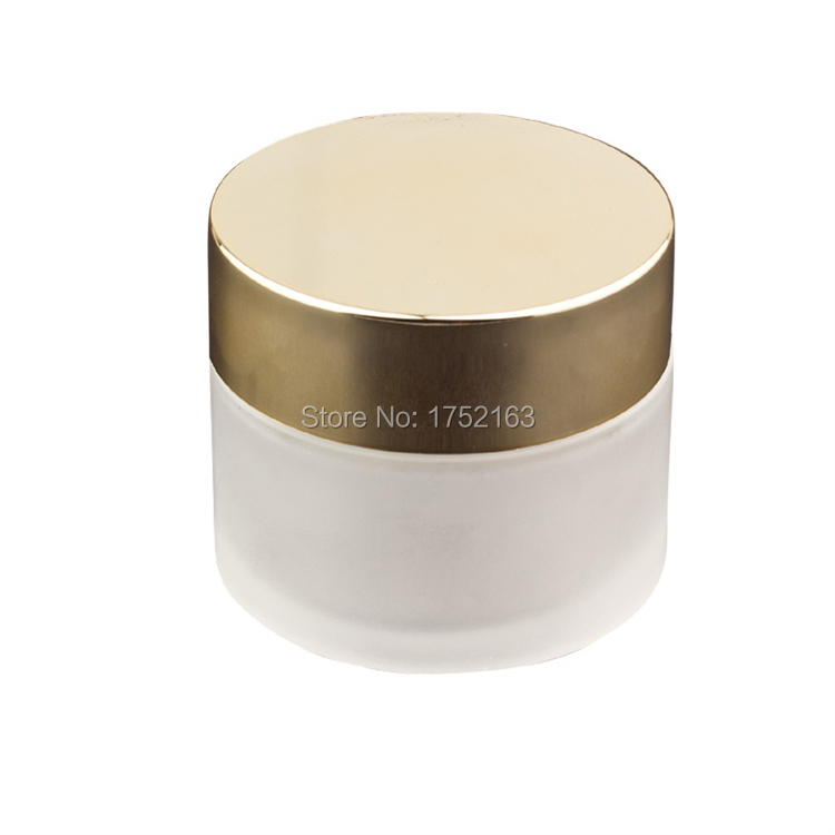 100g frosted glass bottles, cosmetics packaging with gold cap, mask bottle, cream jars, cosmetics glass jars, cosmetic container(China (Mainland))
