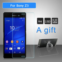 Screen Protector Tempered Glass Cover For Sony Xperia Z3 9H 0.33mm Anti Impact Protective Film For Sony Z3 2pcs A Gift