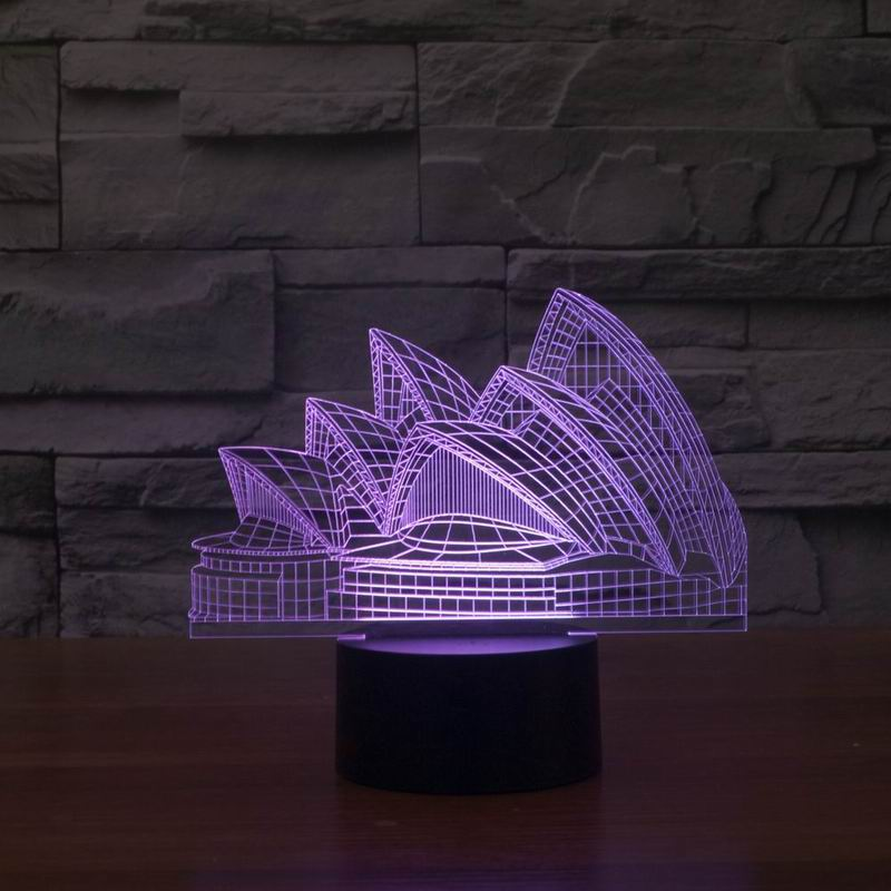 Free Shipping 3D beautiful Sydney Opera House Iphantasm Decoration LED Light(China (Mainland))