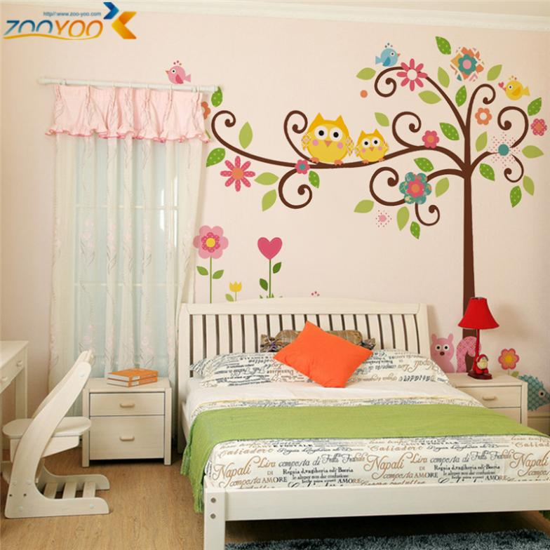 owls wall stickers for kids room home decor zooyoo1001s cartoon wall decal animal mural art tree adesivo de parede diy pegatinas(China (Mainland))