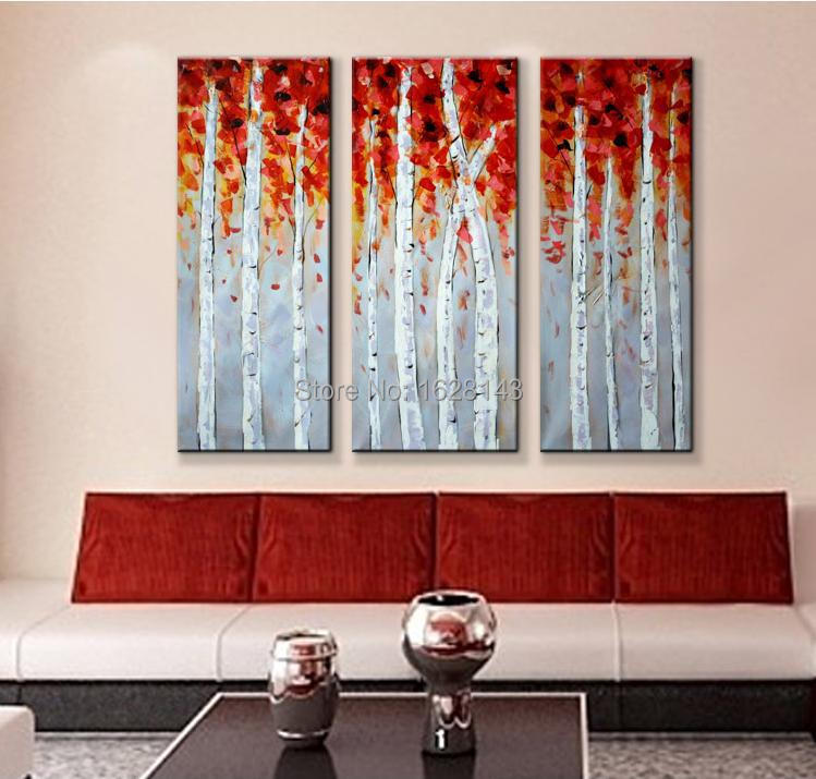 Hand made 3 piece canvas wall art white red woods home for 3 piece wall art