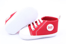 Free Shipping Cute Classical Infant Prewalker Comfy Lovely Baby Soft Sneaker Antiskid Lace Up Canvas Trainers