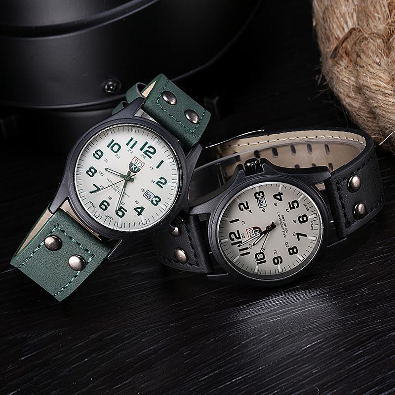 Винтажный мужчины в водонепроницаемый дата кожа ремень спорт кварцевый армейское часы