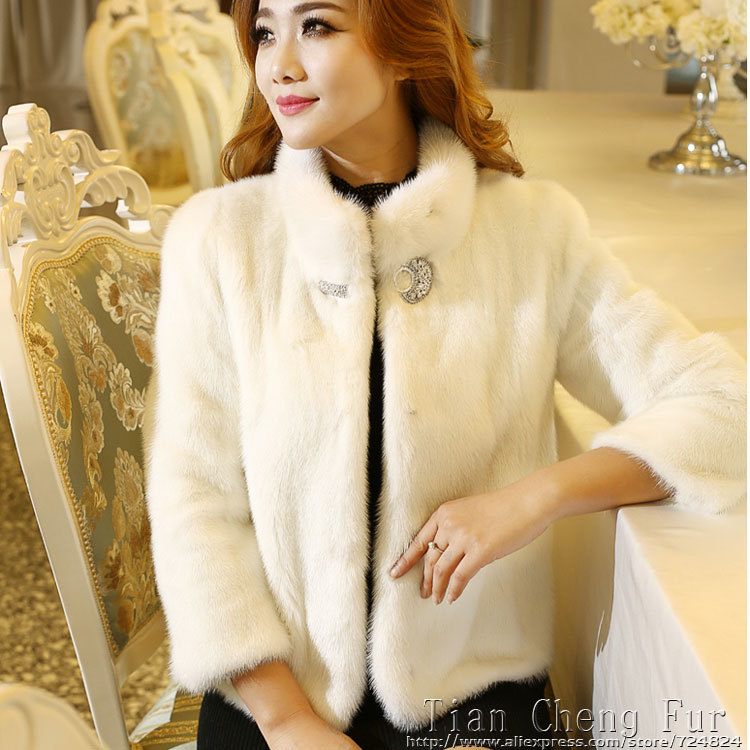 2015 women's winter coat fur collar coat Brief paragraph Jackets & Coats fur faux fur mink coat Brief outwear free shipping(China (Mainland))