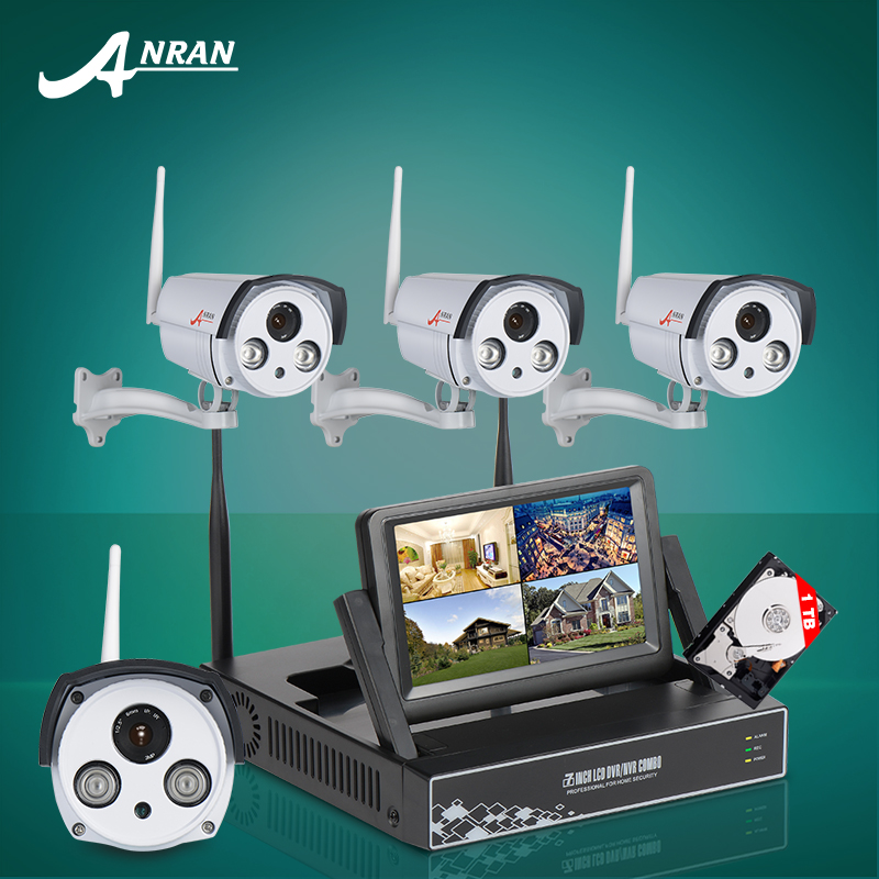 "Anran 2016 New 7"" LCD Screen Wireless Wifi Surveillance NVR Kits 1TB HDD P2P Plug And Play 720P IP Camera Security CCTV System(China (Mainland))"