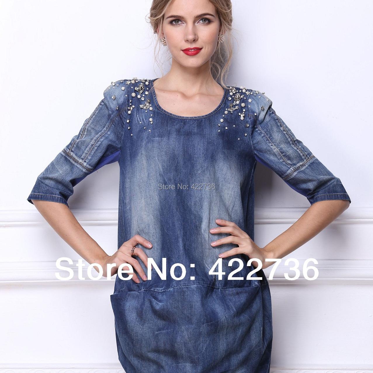 Brand! Plus size M- 4XL 5XL 6XL new 2015 summer autumn women fashion high-end jean clothes woman loose runway denim mini dress - Mary Fashion Large Size Clothing Store ( S-10XL store)
