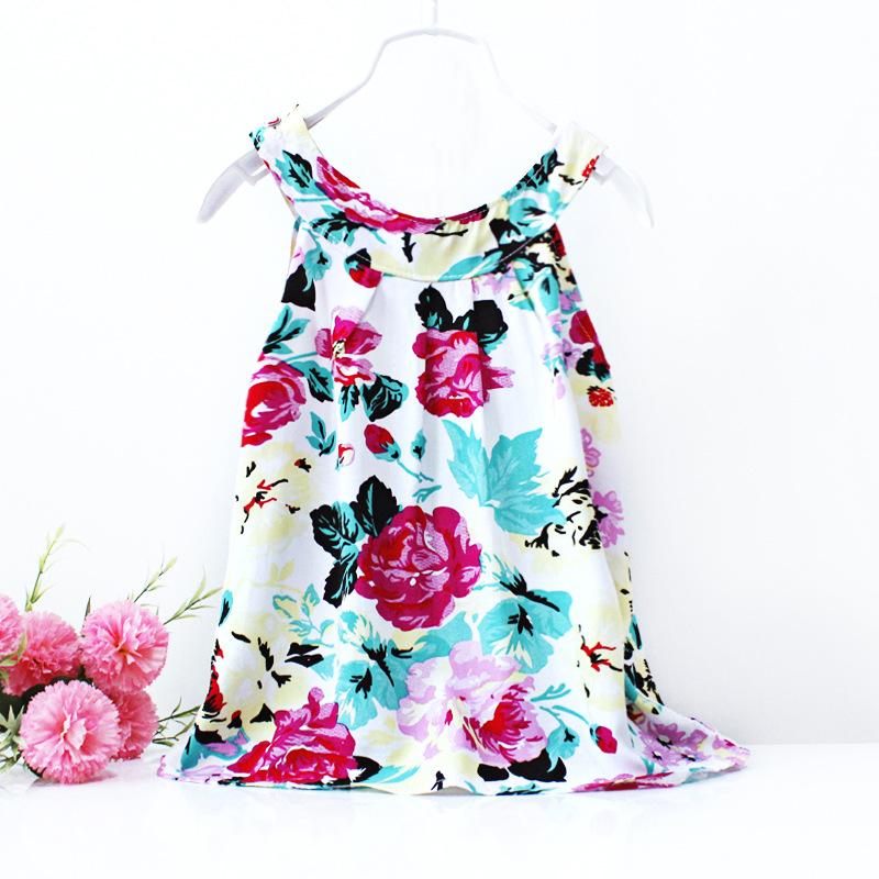 2015 summer little girl dress sleeveless floral children clothing flower casual girls dresses Summer Style Baby Girl Clothing(China (Mainland))