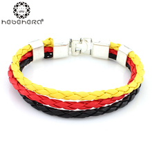 8inch Unisex German Italy France Russia National Flag Rope Surfer PU Leather Bracelet Bangle Wristband Friendship Gift(China (Mainland))