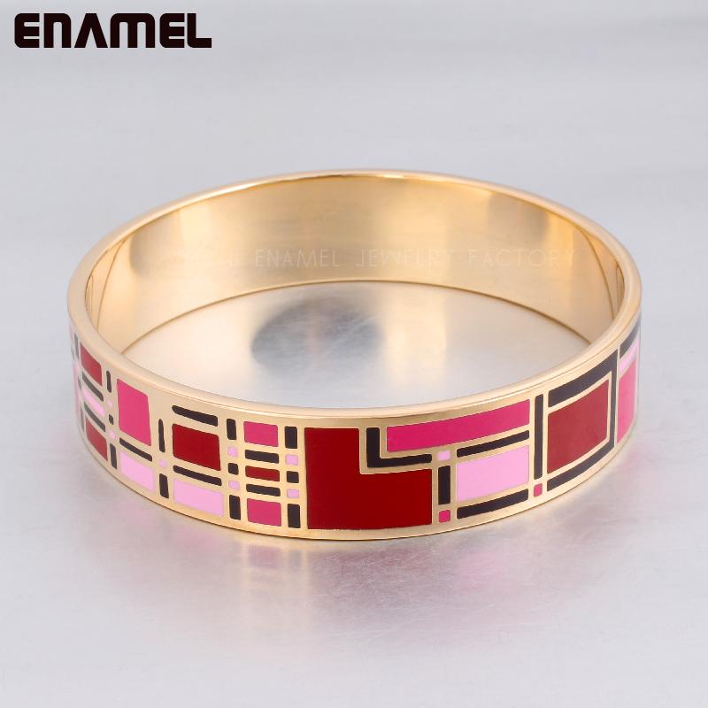 Hot sale !  Women Indian jewelry 16MM Width gold  plated Stainless steel Enamel bangle  Luxury Muslim gold bracelet freeshipping<br><br>Aliexpress