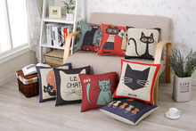 Cute Cartoon Cats Cotton Linen Cushion Cover