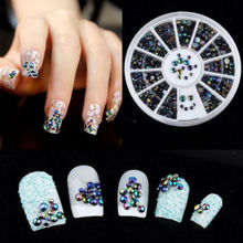 300pcs 3D Nail Art Tips Crystal Glitter Rhinestone Pearl Decoration + Wheel ESY1