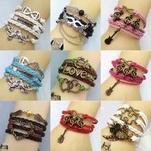 Hot Multilayer Braided Bracelets , Vintage Owl Musical Note Infinity Bracelet, Multicolor Woven Leather Bracelet High Quality(China (Mainland))