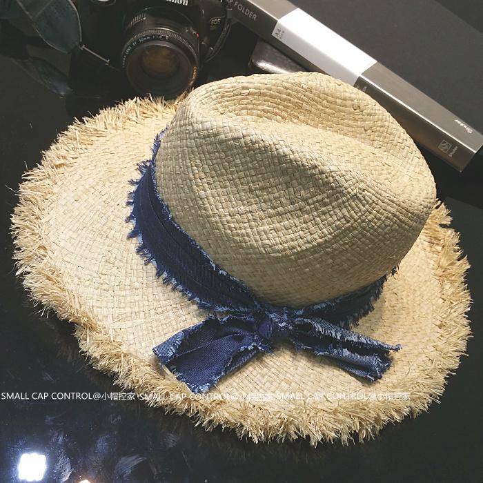 Summer Casual High Quality Raffia Grass Straw Fedoras Women's Beach Sun Hat Wide Brim Chapeu SCCDS-039(China (Mainland))