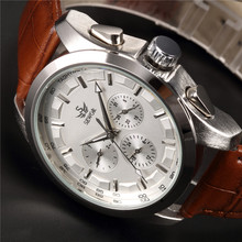 SEWOR Brand Classic Brown Leather Strap Date Day Display Montre Homme Male Auto Mechanical font b