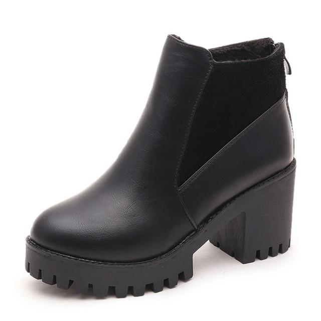 Мода женские ботильоны обувь с искусственной короткие плюшевые ранней весной новое ...