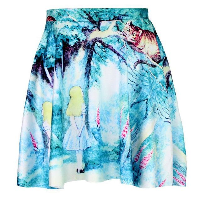 Personlaity 3D печать алиса в стране чудес юбка фигуристки лето стиль сексуальный ...