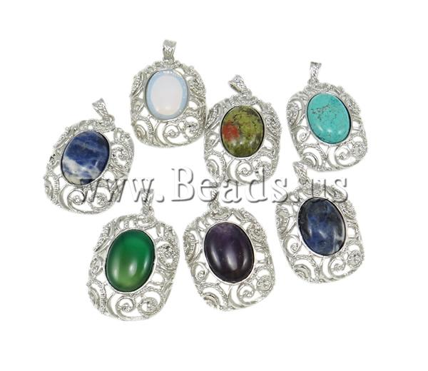 Free shipping!!!Mixed  Pendants,Christmas Gift, with Zinc Alloy, Oval, natural, 35x56mm, Hole:prox 4x8mm, 30PCs/Ba, Sold By Ba<br><br>Aliexpress