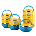 Cute Cartoon Minion stainless steel Lunch Box For Kids With Plastic Tiffin Boxes Thermal Bento For