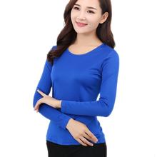 100% Чистого Шелка женские Футболки Femme Повседневная С Длинным Рукавом Тис рубашка Топы Женский О-Образным Вырезом Женщины Футболка Для Женщины Конфеты 7 Цветов(China (Mainland))