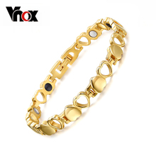 Healthy Care Magnetic Bracelets Bangles 18K Gold Plated Heart Stainless Steel Women Female Fashion Jewelry(China (Mainland))