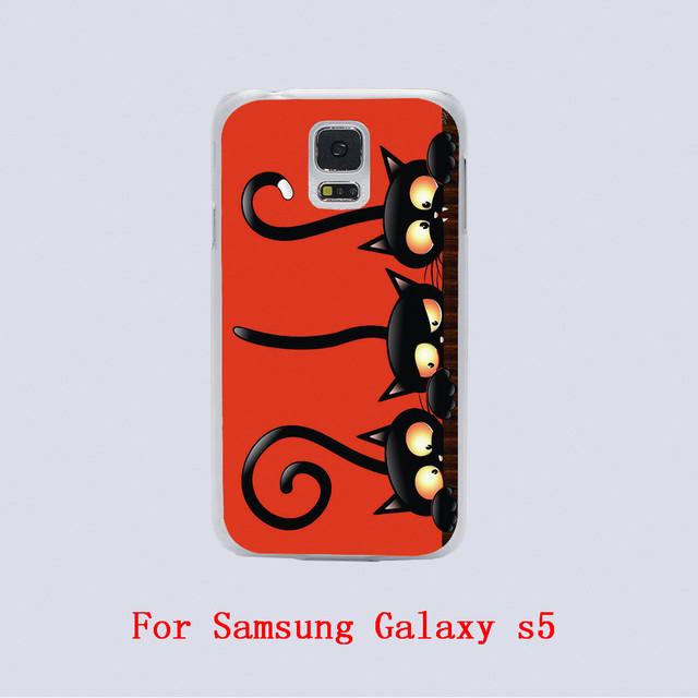 black cat halloween Design Black skin phone cover cases For Samsung Galaxy S3 9300 /S4 /S5 /S6 /S6 Edge