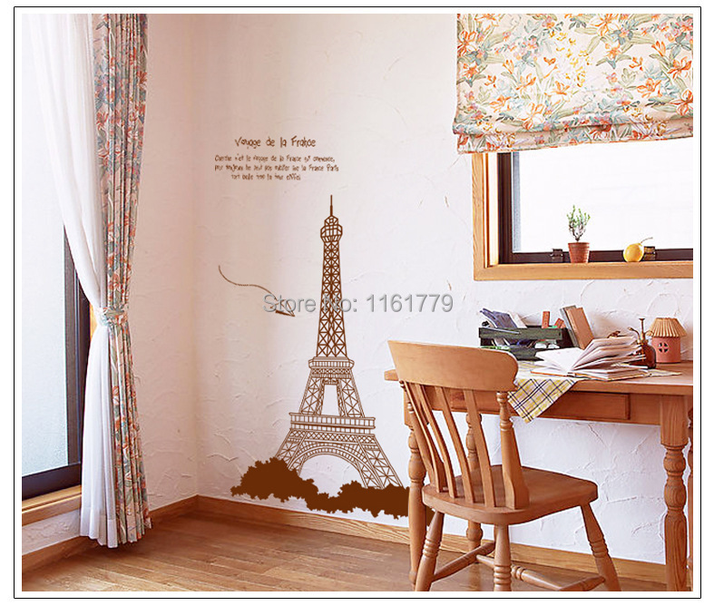 I Love Paris Living Room Vinyl Wall Art Decals Eiffel Tower Decoration Stickers For Kids Room Wallpapers 3D Decor AY726B(China (Mainland))