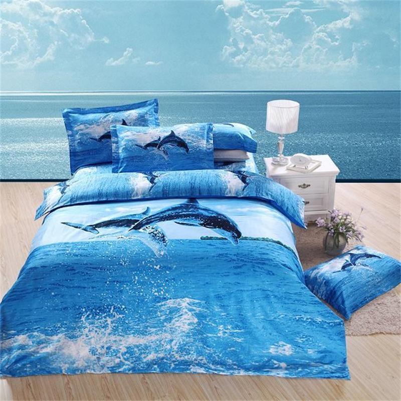 3d Print Dolphin Blue Ocean Bedding Sets 100 Cotton Queen