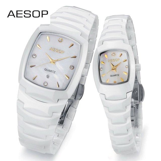 AESOP Luxury Ceramic Watch Analog Dual Time Date Day Watch Women Dress Rhinastone Watches Quartz Wrap Wrist Men's Sports Watch