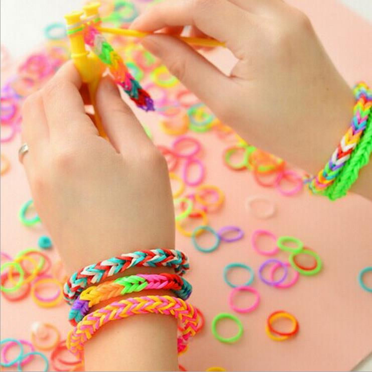 Cute Rubber Rope Woven Jelly Band Bracelet Toys For Children DIY Manual Kids 3d Puzzle OPP Package 3(China (Mainland))