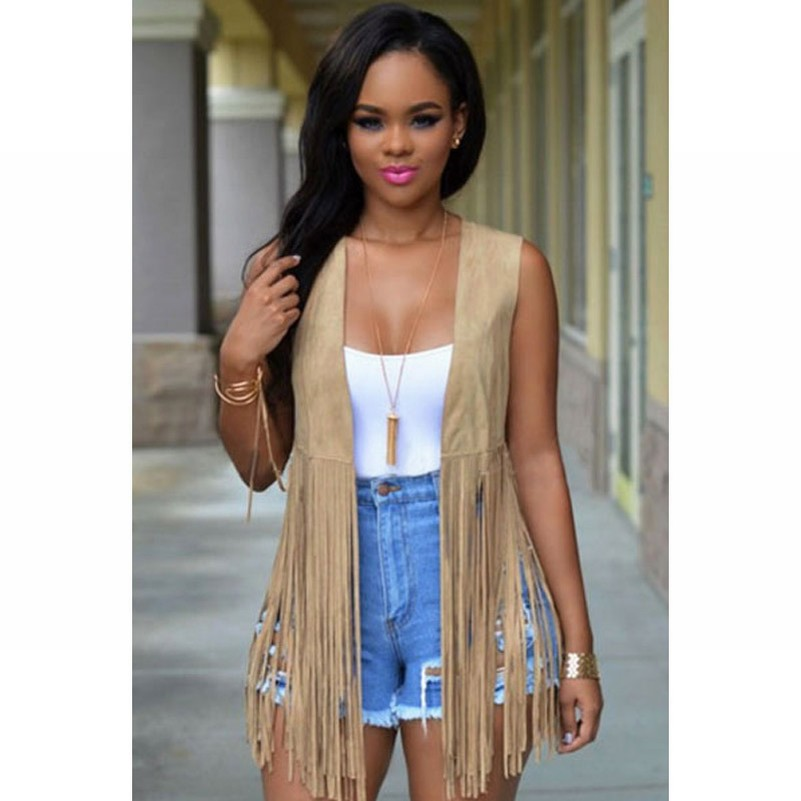 2016 New brand Fashion women suede leather fringe vest long thin cardigan solid brown color casual female waistcoat(China (Mainland))