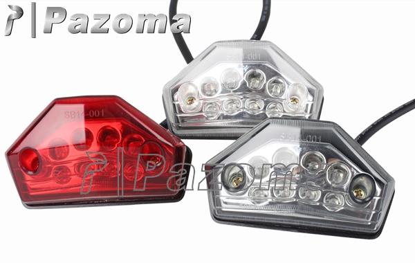 PAZOMA free shipping universal LED Tail stop brake light motorcycle dual sport atv ktm exc mxc super moto 450 f clear,red,smoke(China (Mainland))