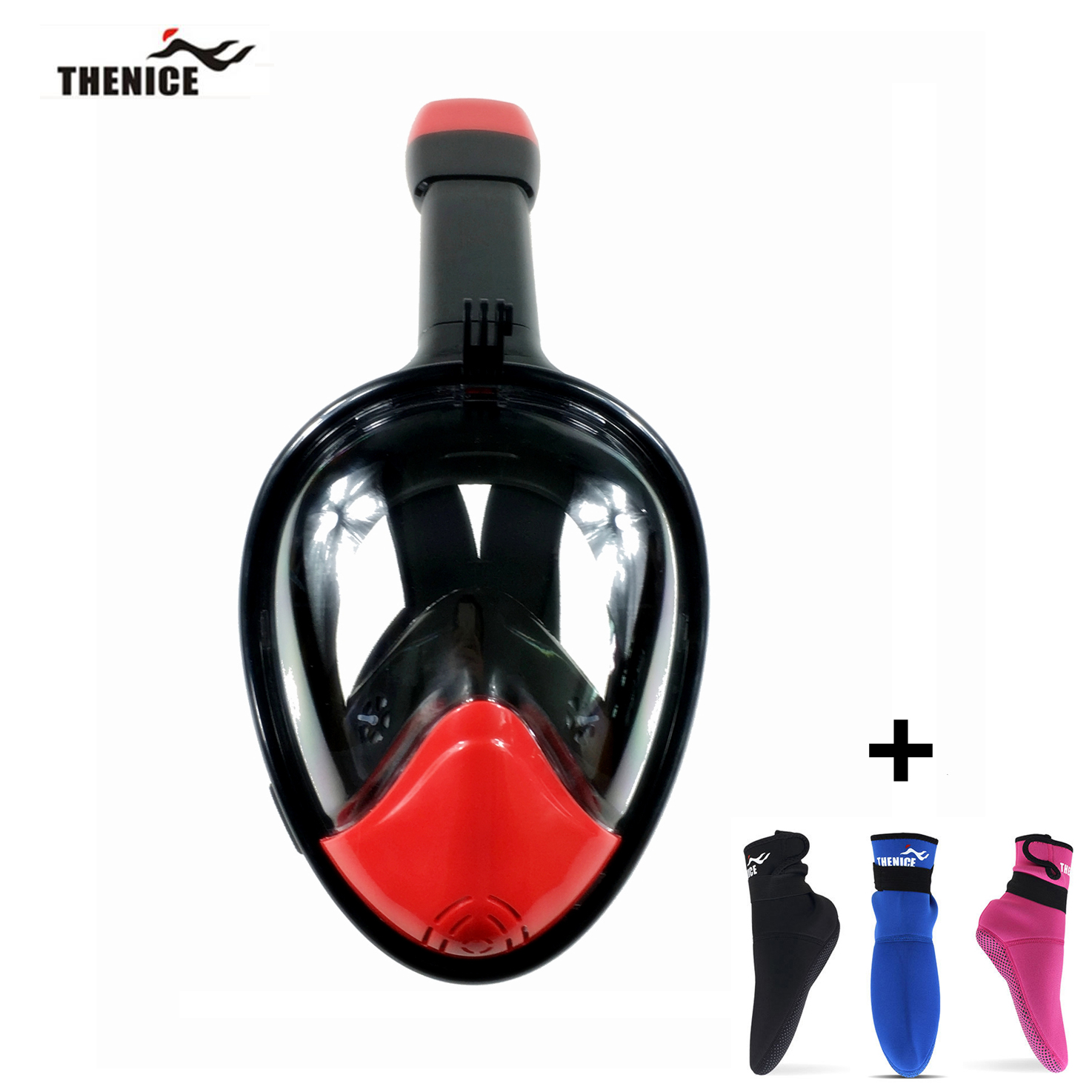 Thenice Scuba Diving Mask Full Face Easy Breath Dry Snorkeing Swimming Dive Snorkel Underwater Sport Equipment and Free Socks(China (Mainland))