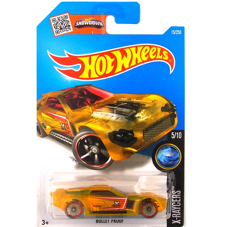 HotWheels Die-casts X-Raycers: BULLET PROOF/Yellow/Inexperienced/Toy/Mannequin Automotive/2016#15/250