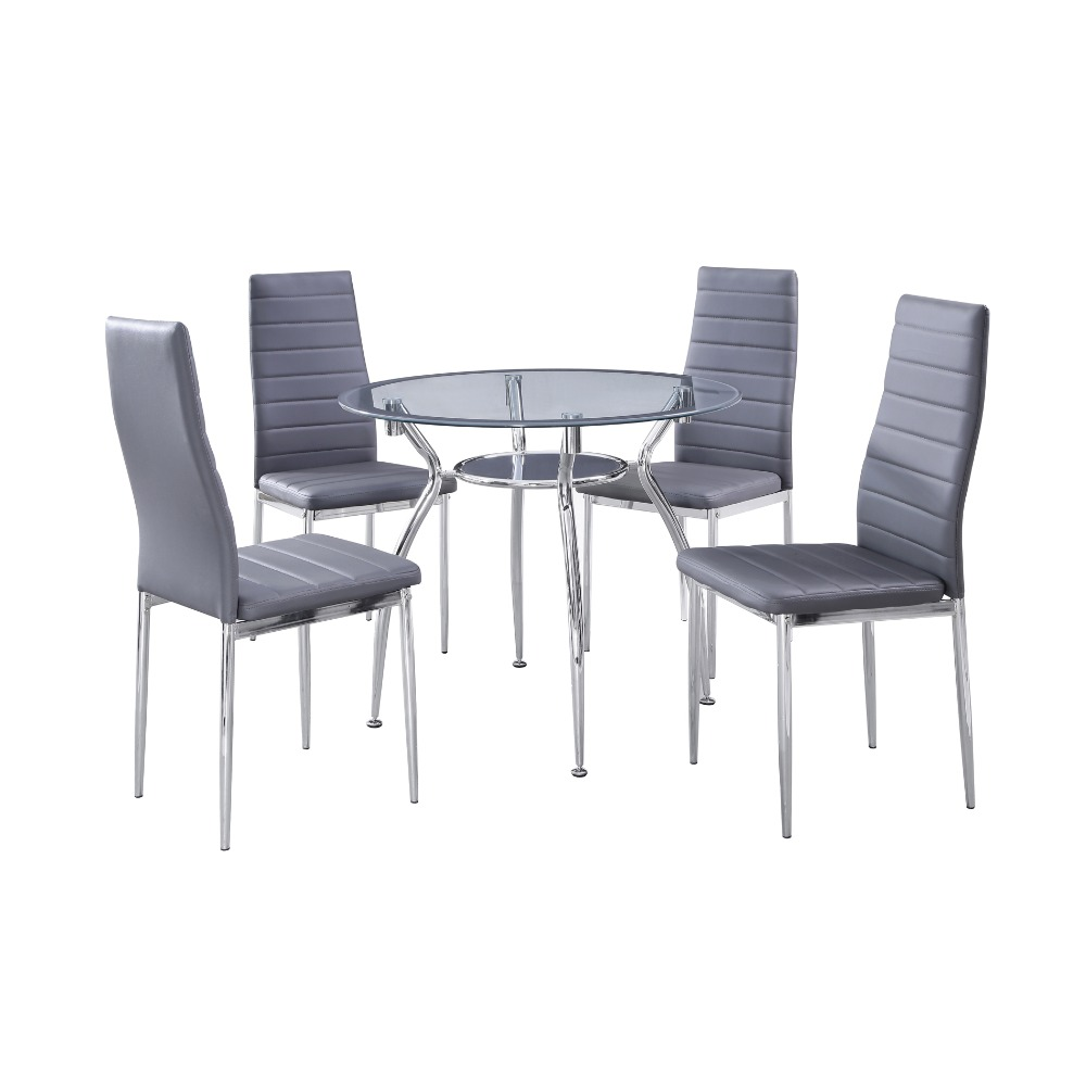1 set 5-Piece Home Dining Kitchen Furniture Set, Metal Frame Round Table with Glass Top and 4 Chairs, Gray(China (Mainland))