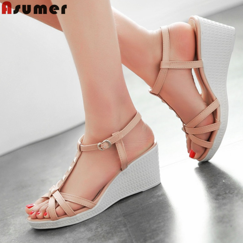 2016 platform summer women sandals T- strap wedges high heels rivets soft leather front rear strap casual beach shoes woman