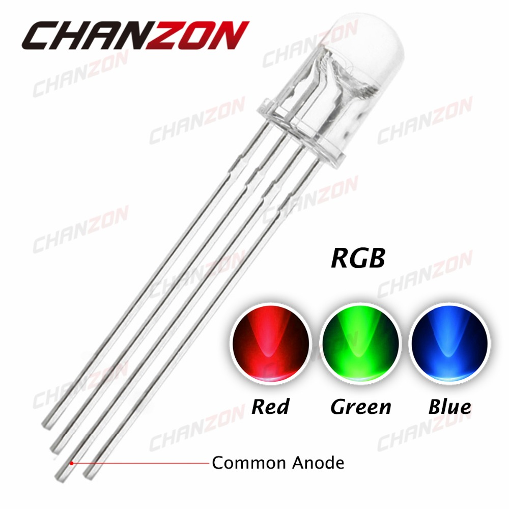 100pcs/lot Multicolor 4pin 5mm RGB Led Diode Light Lamp Tricolor Round Package Common Anode Rgbled LED 5 mm Light Emitting Diode(China (Mainland))