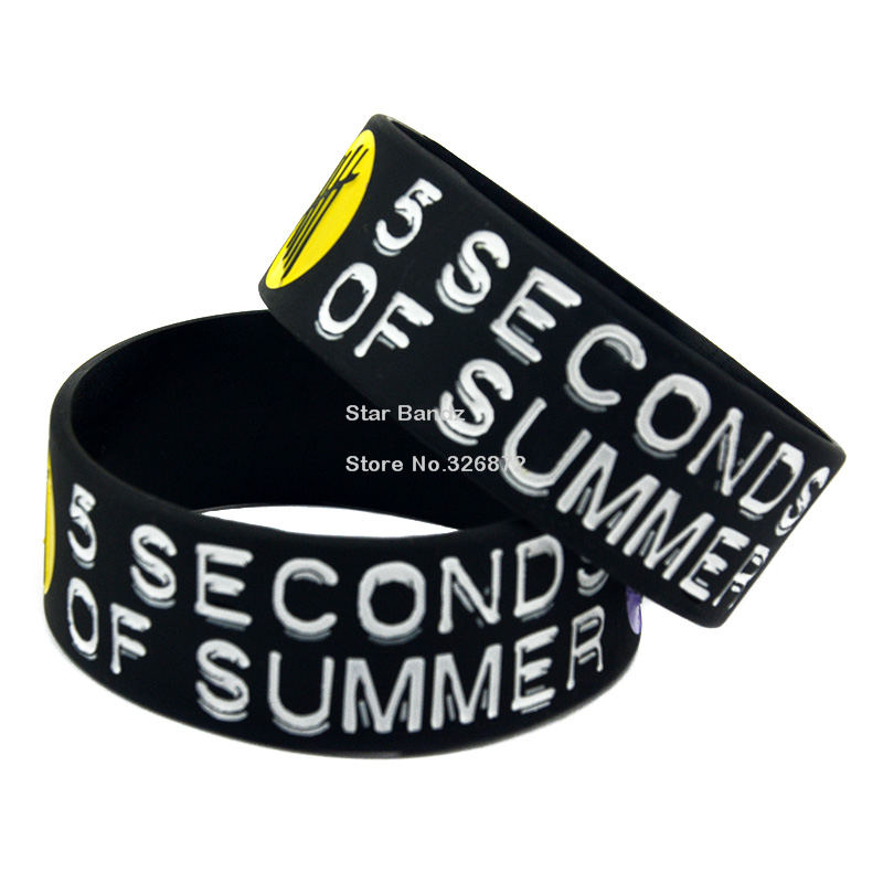 Free Shipping 1PC 5SOS Silicone Wristband Bracelet for Music Fans, 1 Wide<br><br>Aliexpress