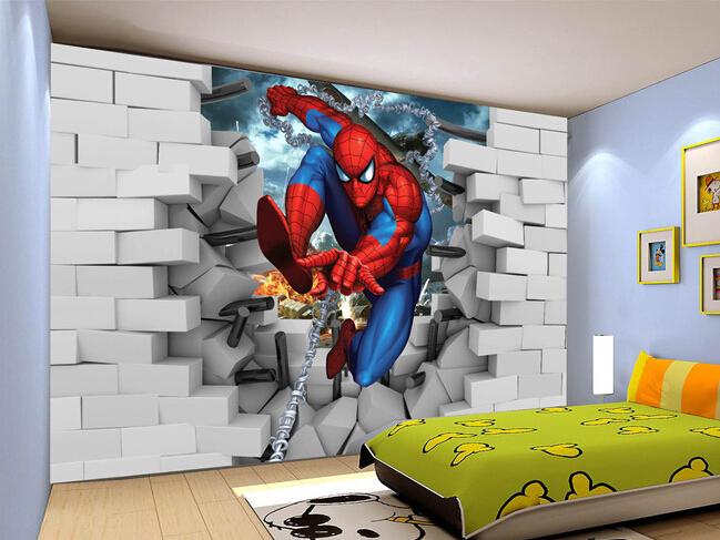 Custom papel de parede infantil spiderman 3 d mural for - Mural pared infantil ...