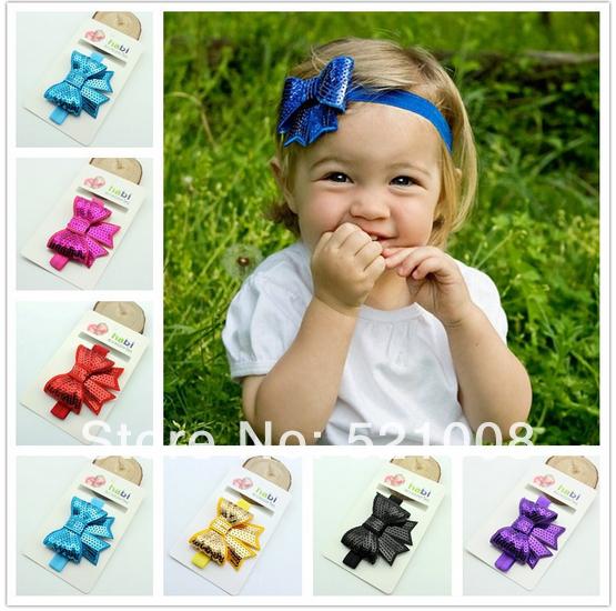 Shine Sequin Newborn Bow Headband Big Hair bow Flower Headband for Newborn Infant Baby Girl Hair Accessories 20pcs Free(China (Mainland))